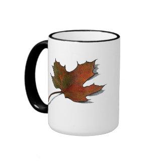 Maple Leaf in Autumn, Fall: Original Artwork Ringer Coffee Mug