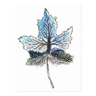 Maple Leaf Landscape - Pen & Ink Design Postcard
