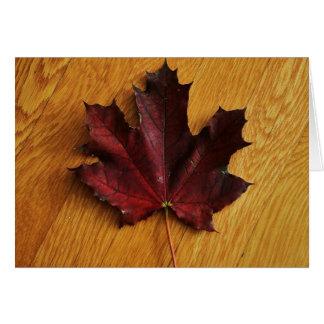 """""""maple leaf on red oak"""" by Larry Coressel Card"""