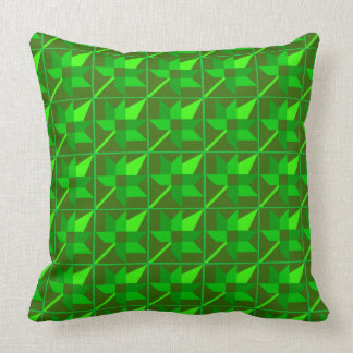Maple Leaf Patchwork Design - Green Shades Throw Pillow