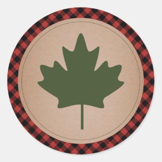 Maple Leaf Plaid Sticker