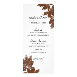 Maple Leaf Stamp Wedding Menu Custom Rack Card