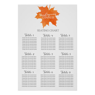 Maple leaf thanksgiving dinner Table Planner 1-9 Poster