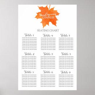 Maple leaf thanksgiving dinner Table Planner 1-9 Print