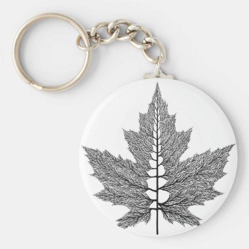 Maple Leaf Veins Basic Round Button Keychain