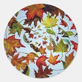 Maple Leaf Vortex painting Classic Round Sticker