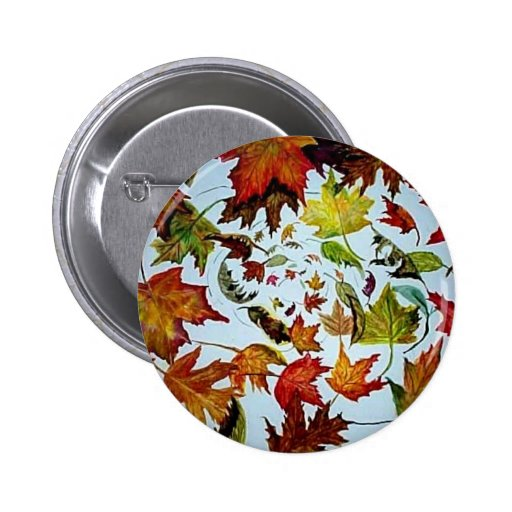 Maple Leaf Vortex painting Pinback Buttons