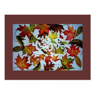 Maple Leaf Vortex painting Postcard