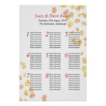 Maple Leaf Wedding Table Seating Plan Posters