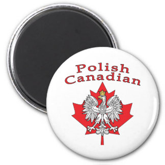 Maple Leaf With Polish Canadian 2 Inch Round Magnet