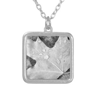 Maple Leaf with Water Droplets Necklace