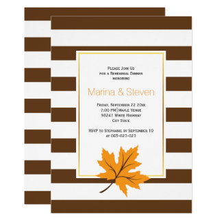 Maple leaves and stripes wedding rehearsal dinner card