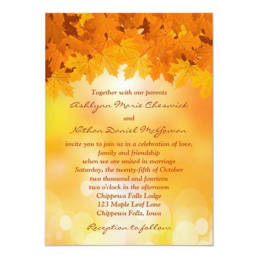 Maple Leaves Autumn Splendor Wedding Invitation