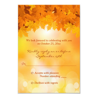 Maple Leaves Autumn Splendor Wedding RSVP Card