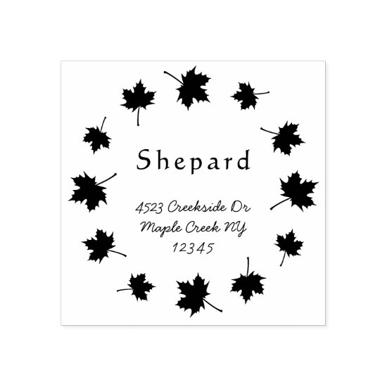 maple leaves border custom wedding return address rubber stamp