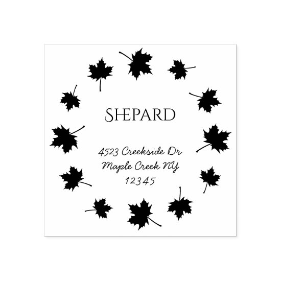 maple leaves border family name return address rubber stamp
