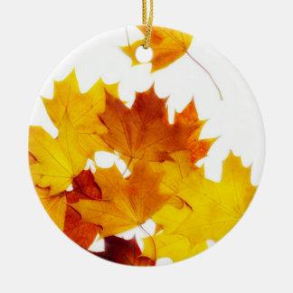 Maple leaves ceramic ornament