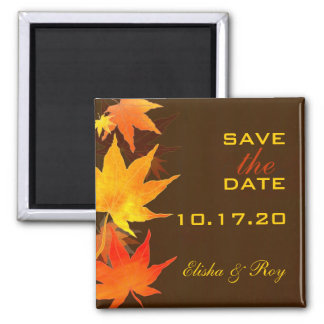 Maple Leaves Chocolate Brown Wedding Save the Date 2 Inch Square Magnet