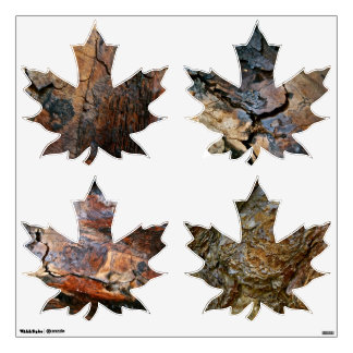 MAPLE LEAVES DECAL WITH COLORFUL WOOD BARK ACCENTS