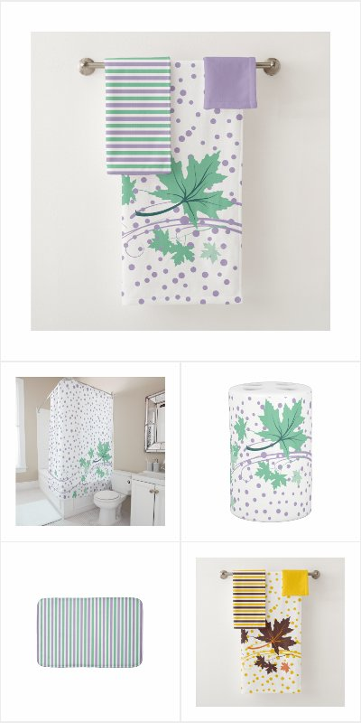 Maple leaves, dots and stripes bathroom collection