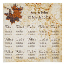 maple leaves, Fall Rustic wedding Seating Chart Poster