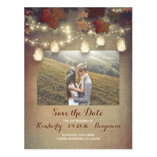 Maple Leaves Mason Jars Fall Photo Save the Date Postcard
