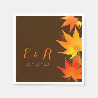 Maple Leaves + Monograms Brown Wedding Napkins Standard Cocktail Napkin