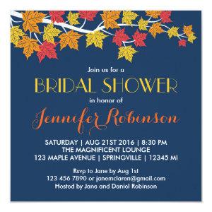 Maple Leaves Navy Blue Fall Wedding Invitation 5.25