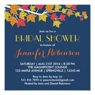"Maple Leaves Navy Blue Fall Wedding Invitation 5.25"" Square Invitation Card"