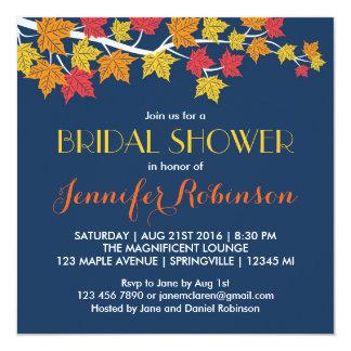 Maple Leaves Navy Blue Fall Wedding Invitation
