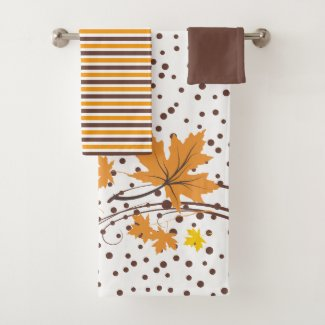 Maple leaves orange, brown bath towel set