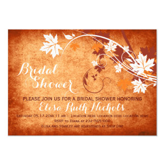 Maple leaves orange fall wedding bridal shower card
