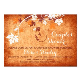 Maple leaves orange fall wedding couples shower card