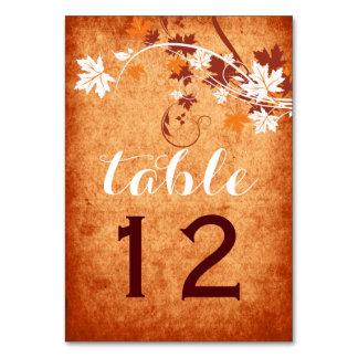 Maple leaves orange fall wedding table number card