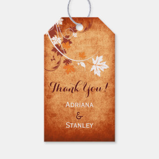 Maple leaves orange fall wedding Thank You Gift Tags