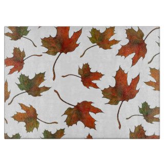 Maple Leaves: Original Color Pencil Drawing Cutting Board