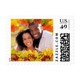 Maple Leaves Photo Frame Fall Wedding SaveTheDate Postage