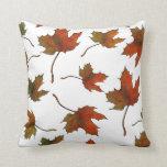 Maple Leaves: Random Pattern: Original Art Throw Pillows