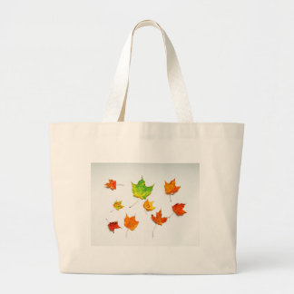 Maple Leaves Red, Orange, Yellow Green on White Canvas Bag