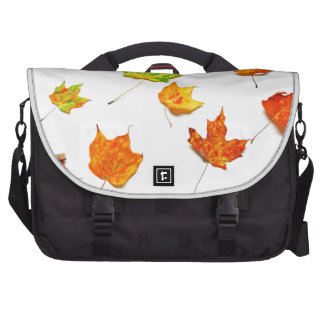 Maple Leaves Red, Orange, Yellow Green on White Computer Bag