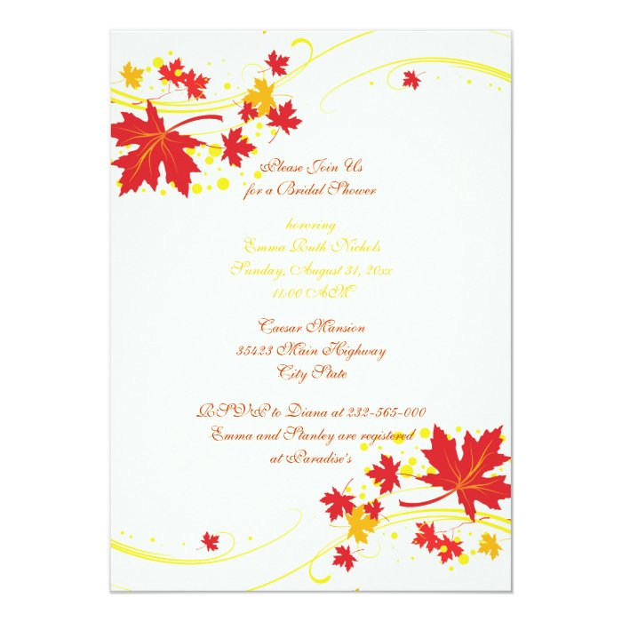 Maple leaves red yellow wedding bridal shower card