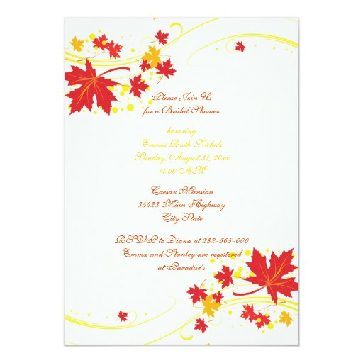 """Maple leaves red yellow wedding bridal shower 5"""" x 7"""" invitation card"""