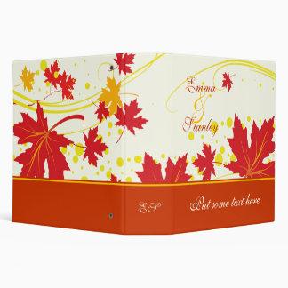 Maple leaves red yellow wedding custom binder vinyl binders