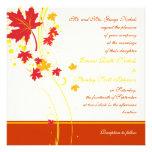 Maple leaves red yellow wedding custom invitation