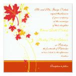 "Maple leaves red yellow wedding custom invitation 5.25"" square invitation card"