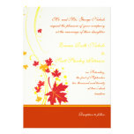 Maple leaves red yellow wedding custom invitation custom announcement