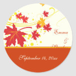 Maple leaves red yellow wedding Save the Date Stickers