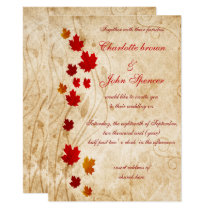 Maple leaves Rustic fall wedding Card