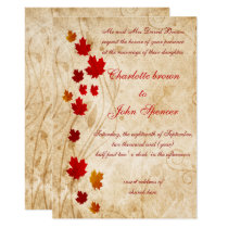 Maple leaves Rustic fall wedding Card