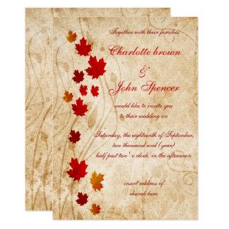 Maple leaves Rustic fall wedding Invitation